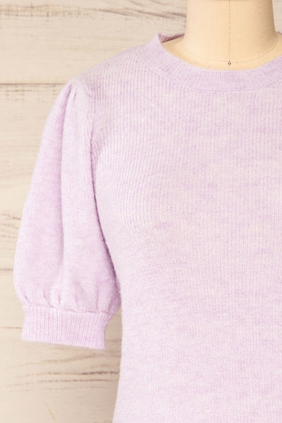 Polikh Lilac Puffy Sleeve Knit Top | La petite garçonne front close-up