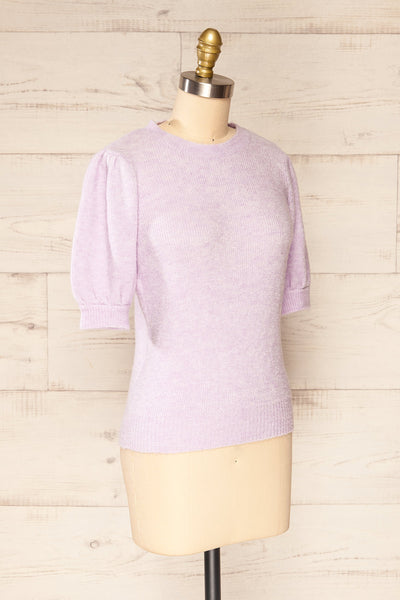 Polikh Lilac Puffy Sleeve Knit Top | La petite garçonne side view