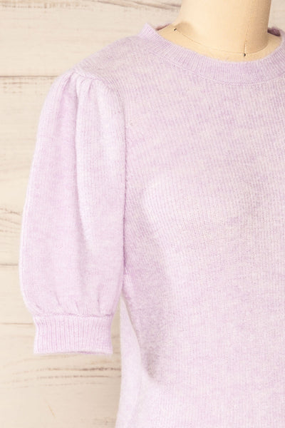 Polikh Lilac Puffy Sleeve Knit Top | La petite garçonne side close-up
