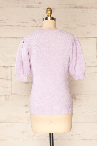 Polikh Lilac Puffy Sleeve Knit Top | La petite garçonne back view