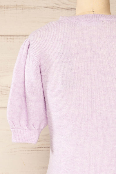 Polikh Lilac Puffy Sleeve Knit Top | La petite garçonne back close-up