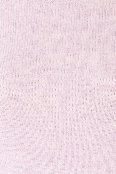 Polikh Lilac Puffy Sleeve Knit Top | La petite garçonne fabric