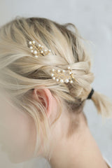 Polyhymnia Set of Golden Hair Pins with Pearls | Boudoir 1861