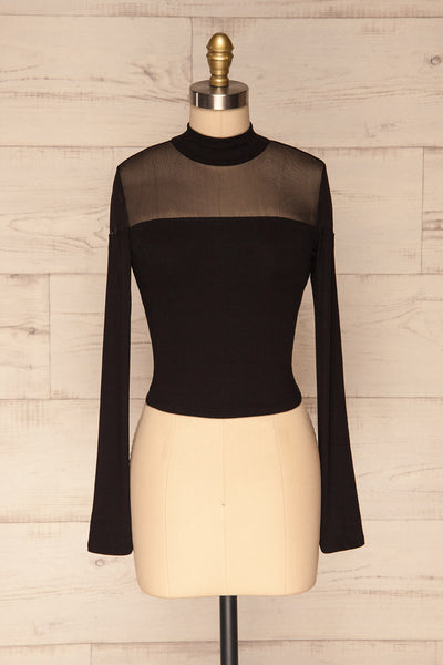 Pontida Black Long Sleeved Crop Top w/ Mesh face view | La Petite Garçonne