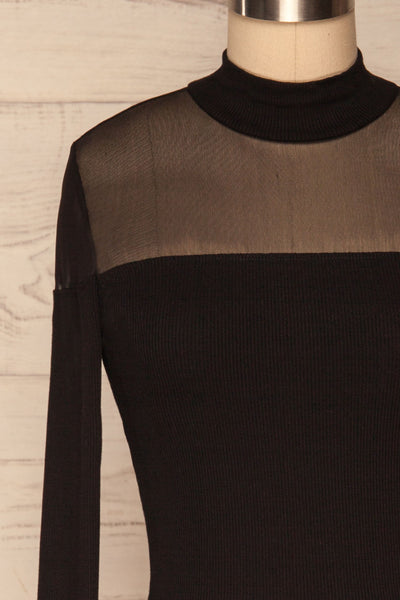 Pontida Black Long Sleeved Crop Top w/ Mesh face close up | La Petite Garçonne