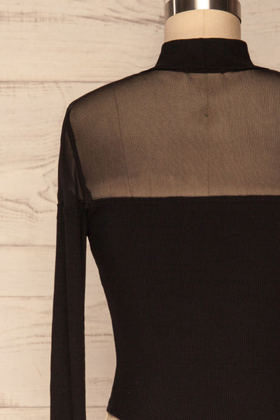 Pontida Black Long Sleeved Crop Top w/ Mesh back close up | La Petite Garçonne