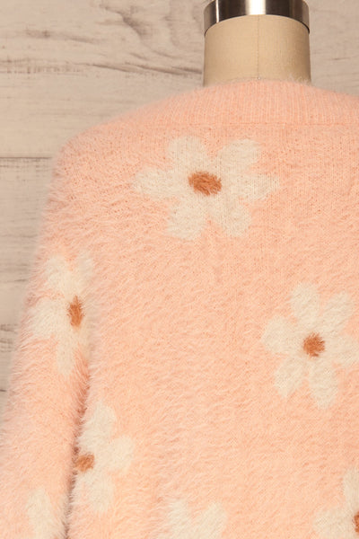 Popoli Pink Floral Fuzzy Sweater | La petite garçonne back close up