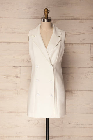 Poros Bianco White Double-Breasted Blazer Dress | La Petite Garçonne