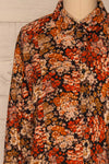 Pozega Black Floral Print Shirt | La petite garçonne  front close-up