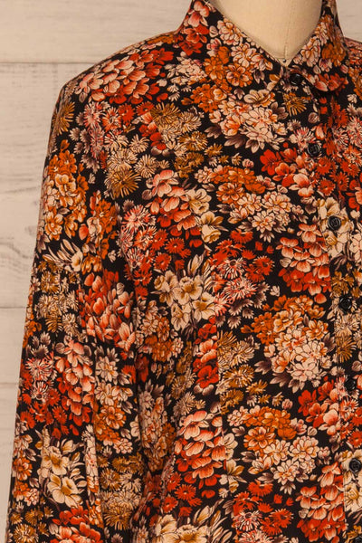 Pozega Black Floral Print Shirt | La petite garçonne  side close-up