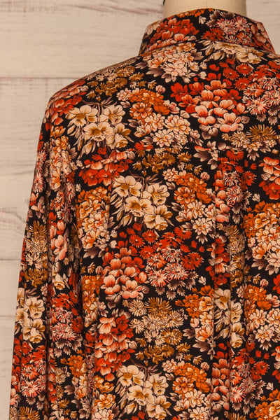 Pozega Black Floral Print Shirt | La petite garçonne  back close-up