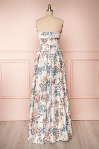 Prencelia White Floral Bustier Maxi Dress | Boudoir 1861 back view