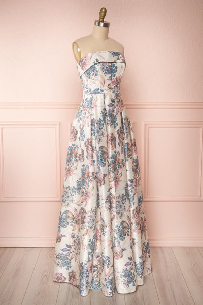 Prencelia White Floral Bustier Maxi Dress | Boudoir 1861 side view