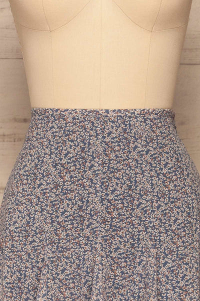 Preveza Blue Floral Ruffle Mini Skirt | La petite garçonne front close-up