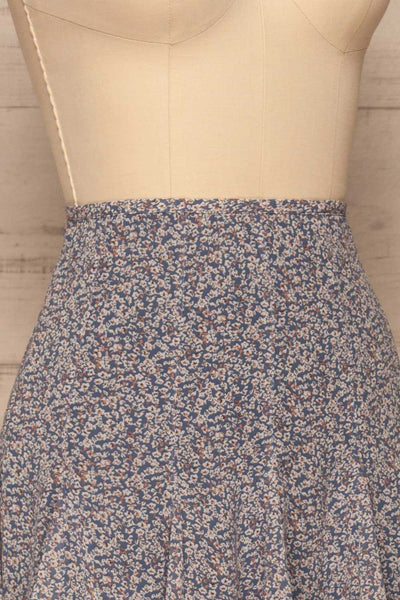 Preveza Blue Floral Ruffle Mini Skirt | La petite garçonne side close-up