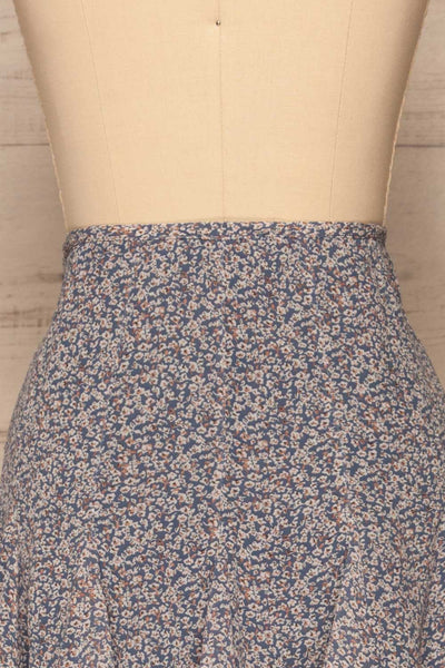 Preveza Blue Floral Ruffle Mini Skirt | La petite garçonne back close-up