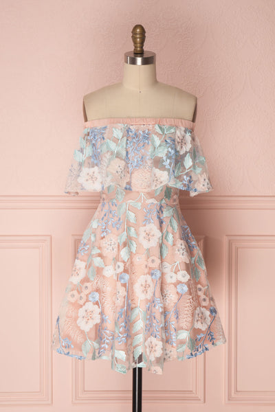 Primerose Pink & Blue Floral Off-Shoulder Flare Dress | Boutique 1861