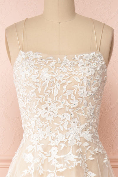 Primrose Beige Embroidered Bridal Dress | Boudoir 1861 front close-up