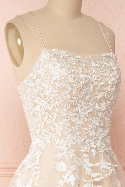 Primrose Beige Embroidered Bridal Dress | Boudoir 1861 side close-up