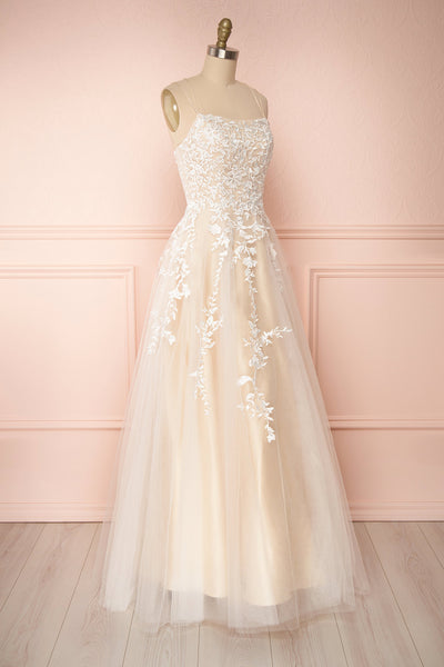 Primrose Beige Embroidered Bridal Dress | Boudoir 1861 side view