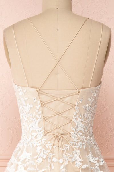 Primrose Beige Embroidered Bridal Dress | Boudoir 1861 back close-up