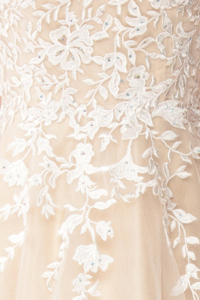 Primrose Beige Embroidered Bridal Dress | Boudoir 1861 fabric