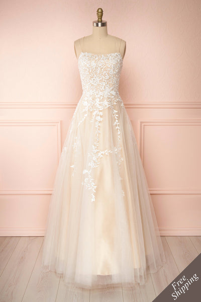 Primrose Beige Embroidered Bridal Dress | Boudoir 1861 front view