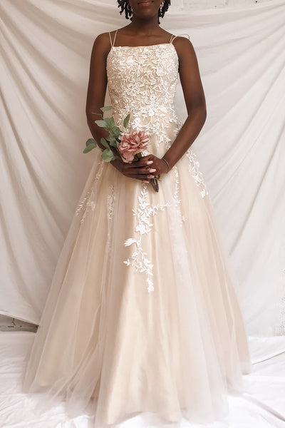Primrose Beige Embroidered Bridal Dress | Boudoir 1861 on model