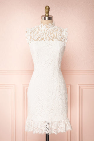Purea White Lace Fitted Cocktail Dress | Boutique 1861