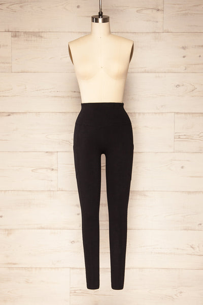 Putignano Black High-Waisted Leggings | La petite garçonne front view