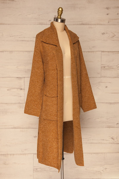 Qormi Brown Long Knitted Cardigan | La petite garçonne side view