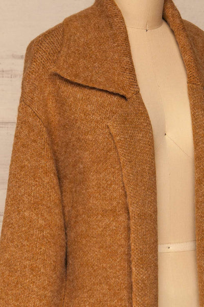 Qormi Brown Long Knitted Cardigan | La petite garçonne side close-up