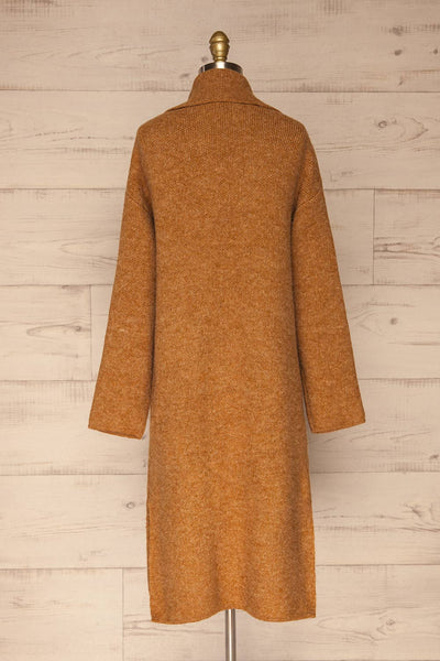 Qormi Brown Long Knitted Cardigan | La petite garçonne back view