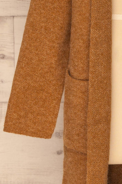 Qormi Brown Long Knitted Cardigan | La petite garçonne sleeve