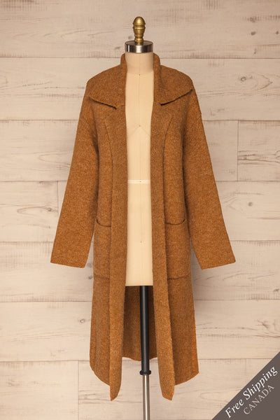 Qormi Brown Long Knitted Cardigan | La petite garçonne front view