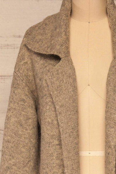 Qormi Grey Long Knitted Cardigan | La petite garçonne front close-up