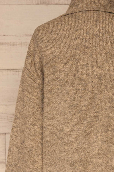 Qormi Grey Long Knitted Cardigan | La petite garçonne back close-up