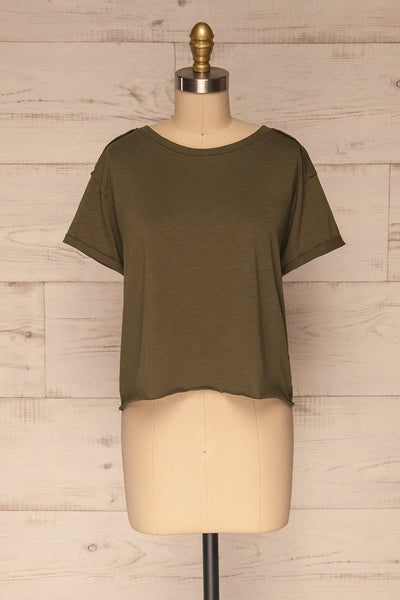 Quarreni Olive Green Crop T-Shirt | La petite garçonne front view