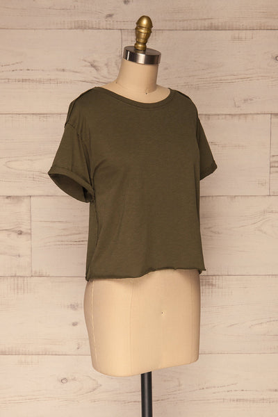 Quarreni Olive Green Crop T-Shirt | La petite garçonne side view