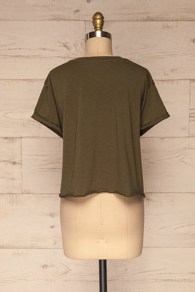 Quarreni Olive Green Crop T-Shirt | La petite garçonne back view