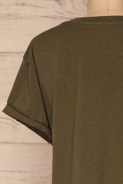 Quarreni Olive Green Crop T-Shirt | La petite garçonne back close-up