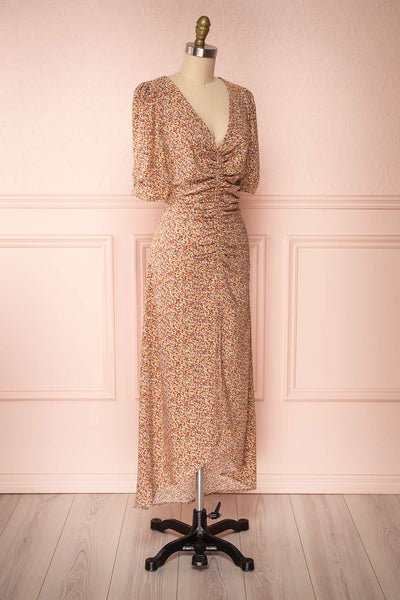 Queluz Yellow Floral Maxi Dress w/ Slit | Boutique 1861 side view