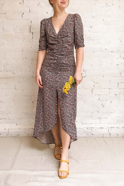 Queluz Black Floral Maxi Dress w/ Slit | Boutique 1861 model look 2