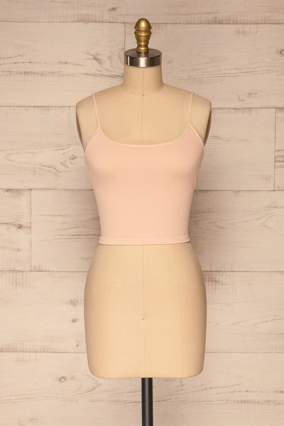 Qyppa Pink Fitted Crossed Back Crop Top | La petite garçonne front view