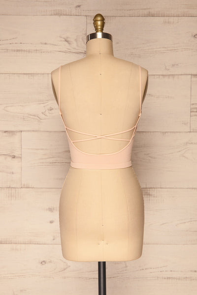 Qyppa Pink Fitted Crossed Back Crop Top | La petite garçonne back view