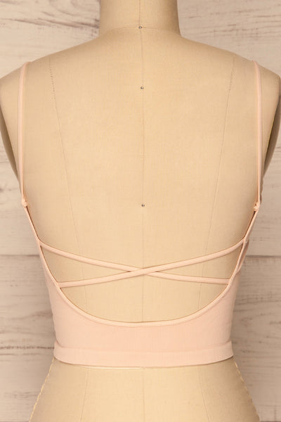 Qyppa Pink Fitted Crossed Back Crop Top | La petite garçonne back close-up