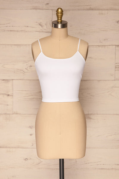 Qyppa White Fitted Crossed Back Crop Top | La petite garçonne front view