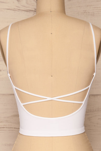 Qyppa White Fitted Crossed Back Crop Top | La petite garçonne back close-up