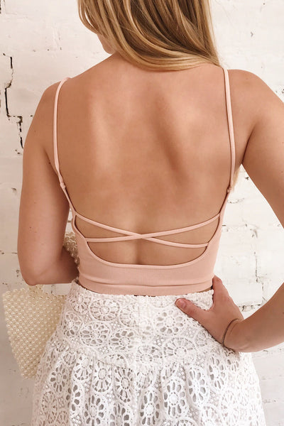 Qyppa Pink Fitted Crossed Back Crop Top | La petite garçonne model close up