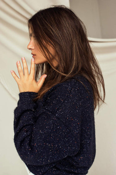 Rachelle Oversized Navy Knit Sweater | La petite garçonne model